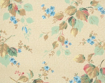 1930s Vintage Wallpaper by the Yard - Antique Floral and Leaf Design with Bright Blue Daisies