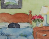 Cat Sleeping on Bed Original Watercolor Painting ACEO