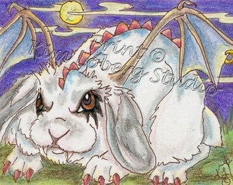 Goth Rabbit evil Demon wing Halloween Bunny ACEO mini Art Print Kim Loberg Nebraska Artist moon EBSQ