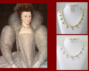 Renaissance Necklace, Medieval Necklace, Tudor Necklace, Elizabethan Necklace, Tudor Reproduction Necklace, Renaissance Replica, U PK Colors