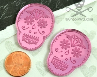 SUGAR SKULL CAB - Set of 2 Cabochons in Pink Mirror Laser Cut Acrylic