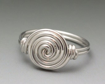 Sterling Silver Wire Wrapped Spiral Ring - Made to Order, Ships Fast!