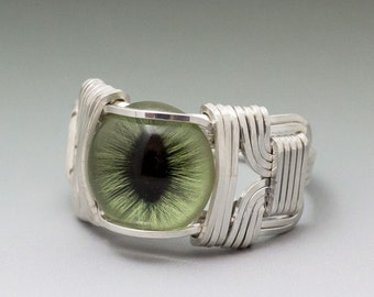 Green Glass Cat Eye Eyeball Sterling Silver Wire Wrapped Ring - Made to Order and Ships Fast!