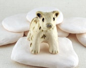 Ceramic Bear Figurine, Handcarved Bear Totem Rattle in Stoneware Clay, Cream, Olive and Silver