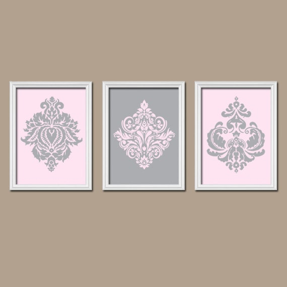 Pink gray wall art damask wall art pink gray nursery by for Pink wall art