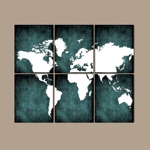 World Map Wall Art Canvas Or Prints Bedroom Teal Home By Trmdesign