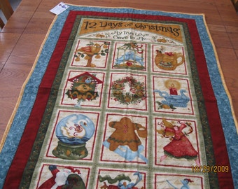 12 Days of Chrismas Nancy Halvorsen Quilted Wall Hanging