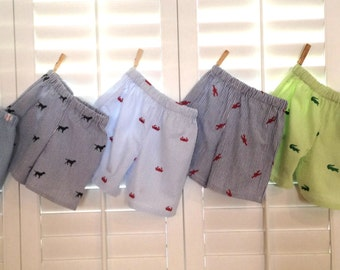 Seersucker Boys Shorts Summer Crab Anchor Nautical Pirate Alligator Dog Lobster Baseball Boutique Custom Maddie Kate