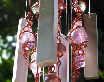 February Birthstone Amethyst Windchime with Recycled Aluminum and Copper Wire Wrapped Amethyst Glass Marble Prisms, Outdoor Garden