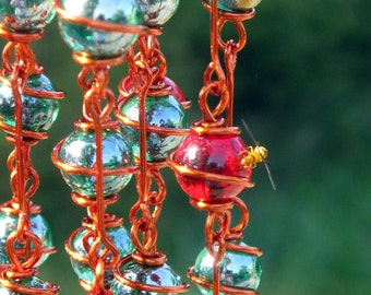 Dragon Stone Windchime with Copper Wrapped Emerald Green and Ruby Red Glass Marbles, Garden Decor, Yard Art