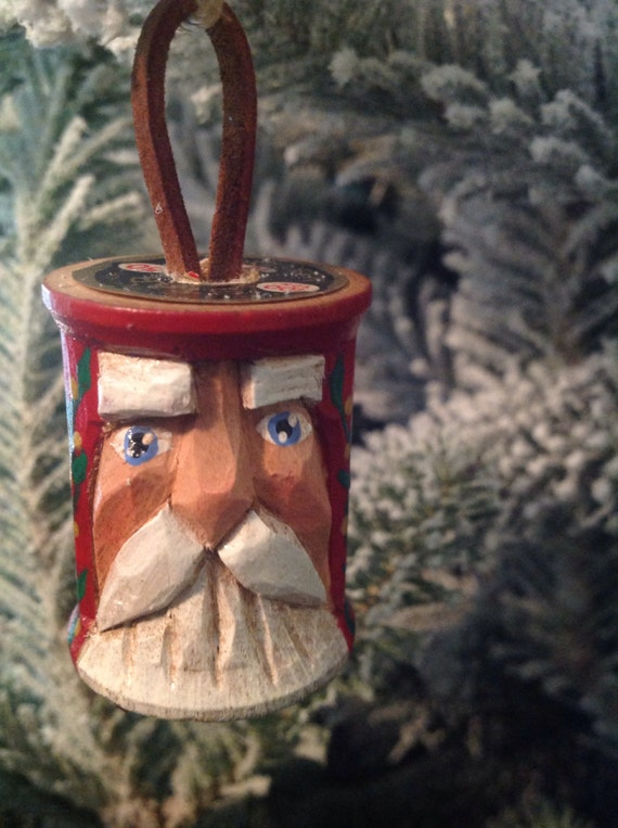 Carved Vintage Sewing Spool Santa Wooden Christmas Ornament