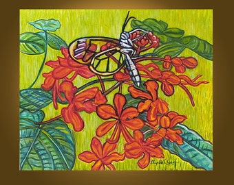 Art Painting Original Painting -- Pagoda Flowers and Glasswing -- 20 x 24 inches by Elizabeth Graf on Etsy, READY to HANG