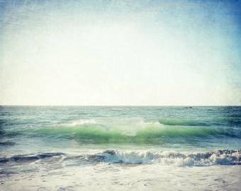 "Beach ocean photography print, aqua blue teal waves seashore wall art ""Tidal Motion"""