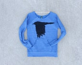 SALE - The Lenore - womens sweatshirt   eco fleece sweater - gothic raven print on heather blue pullovers - ladies top - size XL