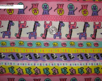 A day at the zoo in pink on cotton jersey knit fabric