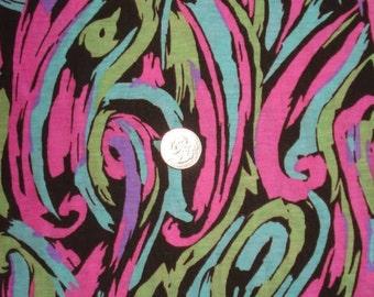 Neon swirls on cotton jersey knit fabric 1 yard