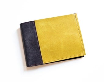 Leather Wallet for Men, Minimalist Wallet, Mens Slim Leather Bifold Wallet, Monogrammed Gift for Him - The Frankie Wallet in Yellow