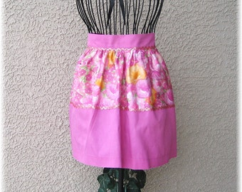 PINK FLORAL with GOLD Trim - Half Apron