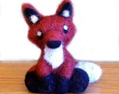 Needle Felted Fox Animal Sculpture Miniature - 3 to 4 Inches Tall - Made to Order by Karen Watkins - Fox Art Doll - Woodland Felt Red Fox