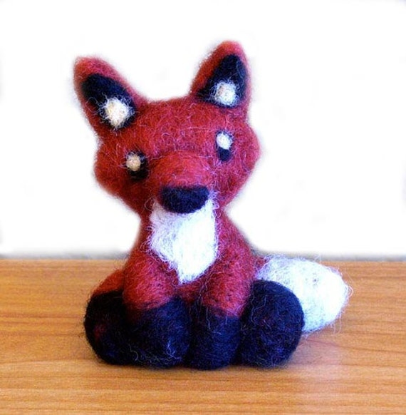 Needle Felted Fox Animal Sculpture Miniature - 3 to 4 Inches Tall - Made to Order by Karen Watkins - Fox Art Doll Woodland Felt