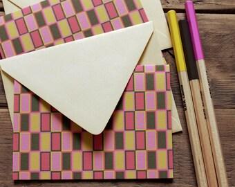 Set (10) Mod Rectangle Pattern Folded Notecards / Pinks / Shimmer Gold Envelopes