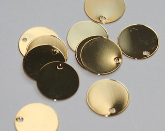 50 pcs of Gold Plated Brass Coin Disc 15mm