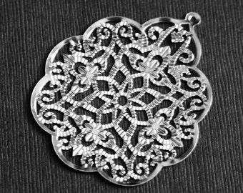 Bulk 100 pcs of silver plated filigree pendant stamped filigree drops 48x58mm platinum color
