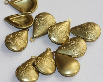 4 pcs of solid brass teardrop Locket Pendant 15x21mm