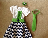 Custom made dress and brother matching tie
