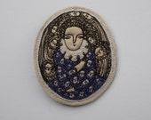 dreamer in purple - embroidery brooch - wearable artwork