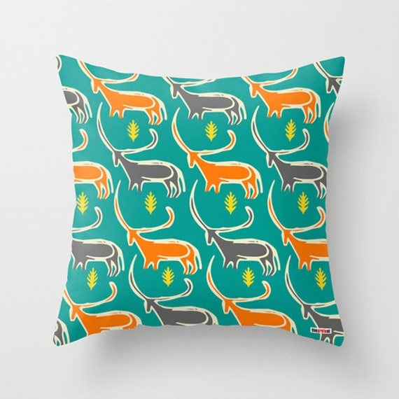 Decorative Pillows Etsy : Items similar to Prehistoric Art Decorative throw pillow cover - Colorful pillow- Artistic ...