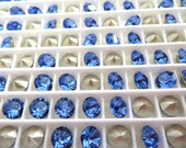 24 Sapphire Foiled Swarovski Crystal Chaton Stone 1088 29ss 6mm