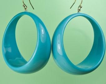 Vintage Lucite Blue Hoop Earrings