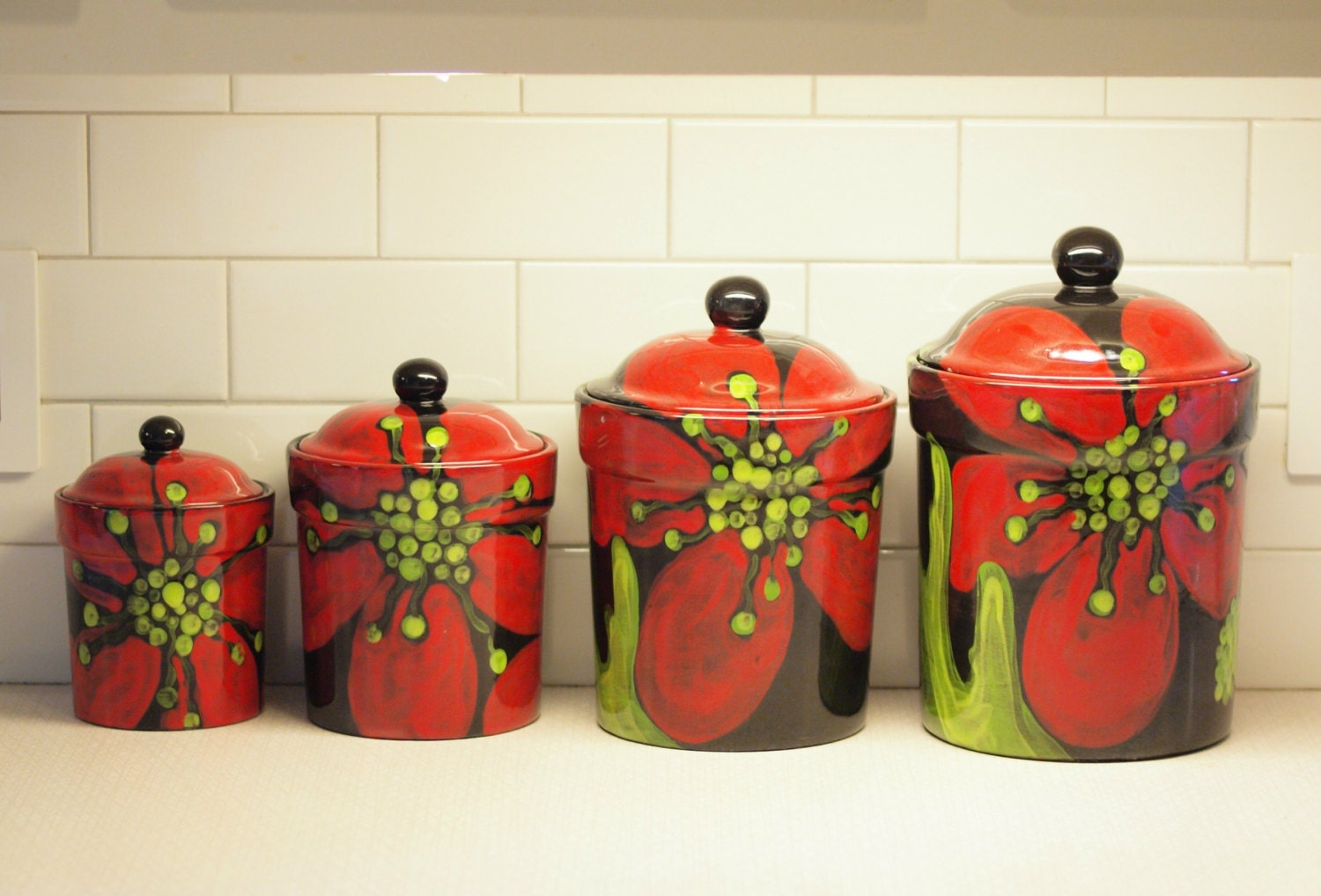 pottery kitchen canister sets canister set ceramic kitchen canisters pottery by romyandclare 21353