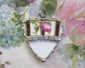 Vintage - Recycled Broken China - Rhinestone Heart - Rose Bud - Pendant -