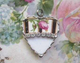 Vintage - Recycled Broken China - Rhinestone Heart - Rose Bud - Pendant -