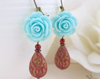 Vintage Inspired Light Blue Rose Earrings. Red Etching Modern Designs Lucite Teardrop Antiqued Brass Dangle Ear Jewelry