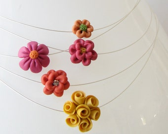 CUSTOM MADE Li'l Bouquet Polymer Clay Flower Bead Wire Necklace
