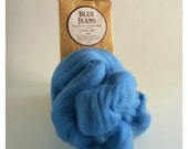 Mid blue merino roving, 25g (1oz) Blue Jeans, 21 micron, merino roving, merino tops, felting wool, needle felt wool, wet felting wool