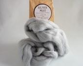 Pale grey merino roving, 25g, 1oz, Silver Mist, 21 micron, merino roving, merino tops, felting wool, needle felt wool, wet felting