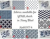 Fabric choices in Navy Blue for Fold Over Envelope Clutches - Bridesmaid Clutches - Custom Clutches-Premier Prints - Ad only (NOT FOR SALE)