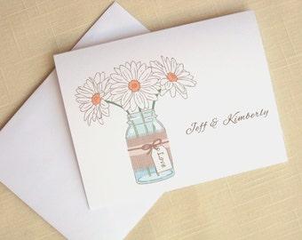 Mason Jar with Daisies - Set of 25 - Custom Wedding Thank Yous - Flowers - Mason Jar Wedding Stationery