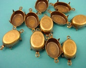 14 brass ox Oval Prong Settings connectors closed Back 14x10