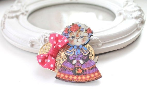 Hair Clip cat  Victorian Lady  kawaii  lolita accessory
