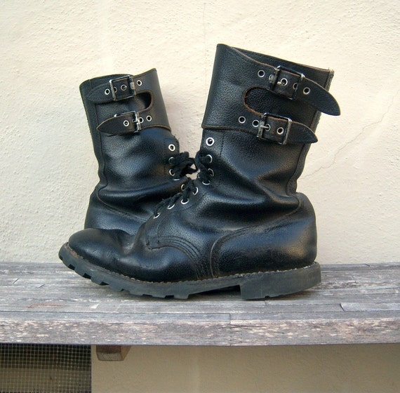 French black leather combat boots / Morvan double buckle