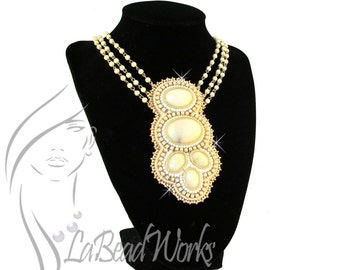 Beaded White Agate Cabochons with seed beads and Swarovski Chain 18-21 inches necklace, NC-0110