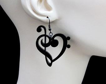 Treble & Bass Clef Heart Earrings - Laser Cut Acrylic - Music Notes