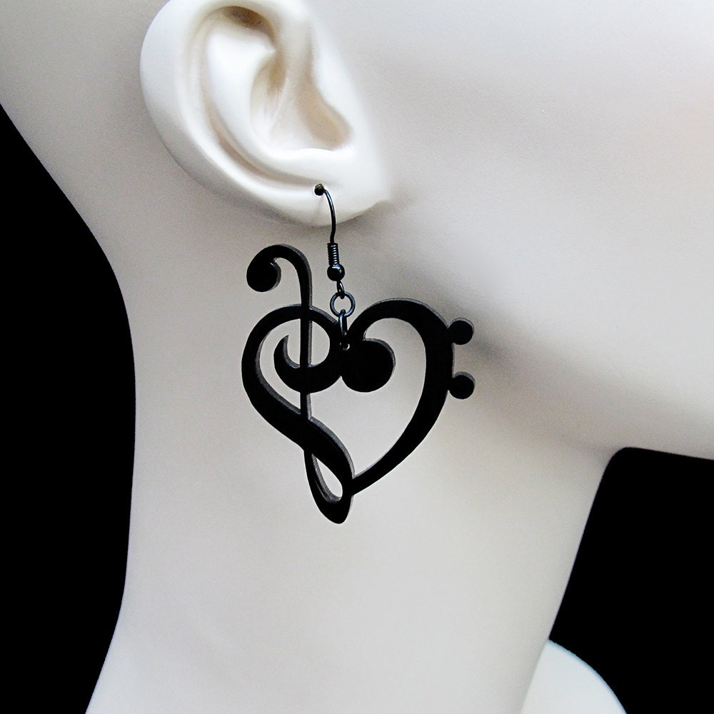 Treble Amp Bass Clef Heart Earrings Laser Cut Acrylic Music