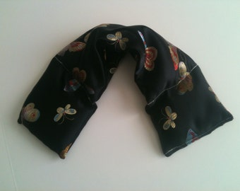 Hot Cold Therapy Wrap/ Neck Shoulder/ Flax Seed, Scented or Unscented-  Satin Fabric Butterfly