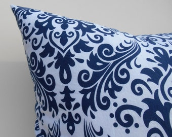 Navy Blue Damask Toss Pillow cover